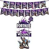 Lot de 2 fournitures de fête de jeu vidéo, décoration de fête de jeu avec bannière de fête de joyeux anniversaire, jeu ON Décor suspendu de bienvenue (purple)