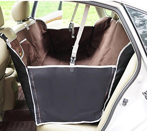 LOHUA Portable Waterproof Dog Car Rear Seat Cover Blanket Travel Pet Hammock Car Seat Protector Cover Mat for Cars-The Best Luxury Protector for Your Back Seat, Brown