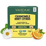 Té verde cítrico de menta y manzanilla (30 bolsitas de té) - Ingredientes 100% naturales Té, bolsitas de té de pirámide de hoja larga Té delicioso de manzanilla, té de menta - Bolsitas de té verde