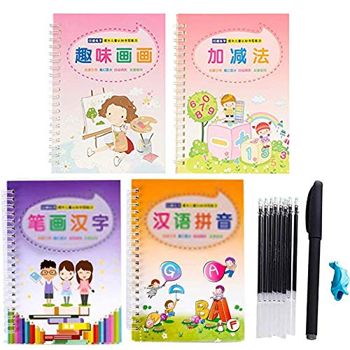 Magic Calligraphy Reused Handwriting Practice Calligraphy Handwriting for Kids Pen and Copybook, Writing automatically disappear after dry (B: 4 Copybook 1Pen 1Penholder 8 Refills)