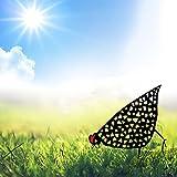 Gartenfigur Metall Huhn Deko Handarbeit Gartendeko, Outdoor Garten Hinterhof Rasen Pfähle Metall Hahn Yard Dekor, Rost Deko für Garten, Glück Henne Dekoration Aufwendig Verarbeitet (25*20CM)