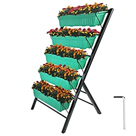 Patiolife Vertical Garden Planter 4 Feet Vertical Planters Outdoor with 5 Container Boxes Tiered Garden Bed Vertical… 1 【VERTICAL GARDEN FRAME】- The 4ft vertical vegetable garden is composed of steel power coated iron metal that is durable and rustproof. Frame Dimension: 26x26x47.6 inch(66x66x121cm). Bin Dimension Length: 23x8.5x5.5 inch(59x21x14cm) 【FOOD GRADE PLANT BINS】- The vertical herb garden planter boasts 5 plastic bins that are made from food-safe Polypropylene material (PP). They are large enough for your planting. 【CASCADING DRAINAGE SYSTEM】- Vertical planter features a cascading drainage system that allows water flow from the top down to each succeeding row to ensure all plants are adequately watered, and no stagnant water remains.
