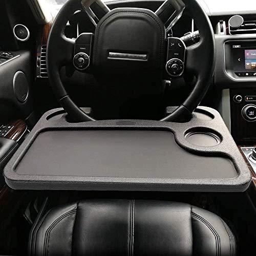 Mesa de escritorio multifunción para volante de coche, bandejas de doble cara, soporte para computadora portátil, se adapta a la mayoría de los vehículos Volantes para viajes (negro)
