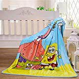 Cartoon Sponge-bob Blanket for Adults & Baby Cozy Soft Coral Velvet Fluffy Throw Blanket for All Seasons Couch Chair, Living Room,Napping Cool Blankets,40'×50' (BOB)