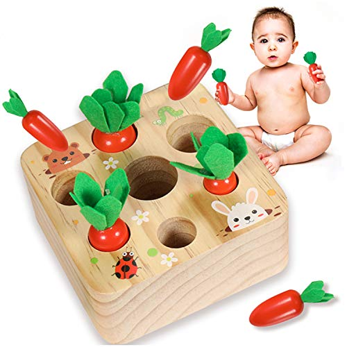 YOFUN Montessori Toys for Toddler - Carrot Harvest Wooden Matching Puzzle, Shape & Size Sorting Games for Developing Fine Motor Skill, Educational Gift for Baby Boys Girls, Made of Natural Pine Wood