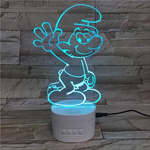 3D Illusion Led Nachtlicht,Illusion Lampe 3D 5 Farbverlauf Led Bluetooth Lautsprecher Weiß Basis Schlumpf Tischlampe