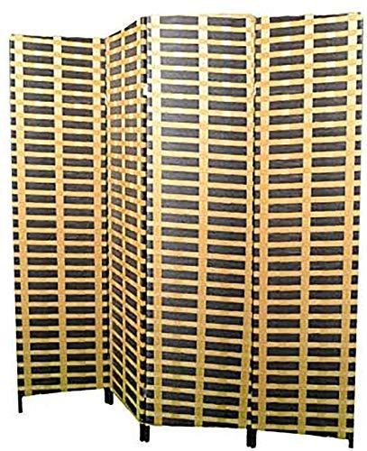 Hogar y Mas Biombo Separadaor 4 Paneles, Madera Bambú Natural y Papel