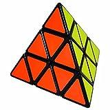 Coolzon 3x3 Pyraminx Pyramid Cubo Magico Rompecabezas Triángulo Speed Magic Cube Juego de Puzzle Cube 98mm,Negro