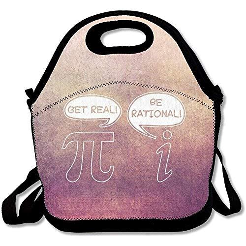 Get Real Be Rational Lustige Mathematik praktische große und dicke Neopren-Lunch-Taschen, isolierte Lunch-Tasche, Kühltasche, warm, mit Schultergurt, für Damen, Teenager, Mädchen, Kinder, Erwachsene