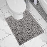 Yimobra Luxury Shaggy Toilet Bath Mat U-Shaped Contour Rugs for Bathroom, 24.4 X 20.4 Inches, Soft and Comfortable, Maximum Absorbent, Dry Quickly, Non-Slip, Machine-Washable, Gray