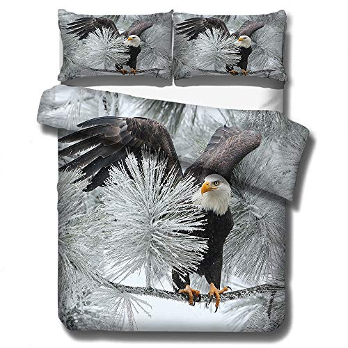 Stillshine. Bedding Set Duvet Cover Flying Animal Birds Eagle Sky Snow Print Pattern Child Boy Bedding Set with Pillowcases (Colour 1,135 × 200 cm)