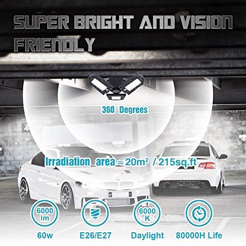 Wireless Tribright Led Garage Light 60W-6000lm-Florescent-Shop-Light Screw-in 4 FT Deformable Basement Light for Garage Workshop Basement Storage and Barn, LED Light Bulb (500W Equivalent)