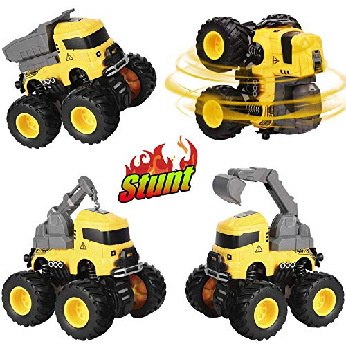 Construction Trucks Toy Cars for Boys 3 4 5 6 7 8 Years Old, 4 Pack Push & Go Engineering Vehicles Cars with Excavator, Dump, Crane, Mixer, Preschool Educational Learning Toy Gift for Kids Toddlers