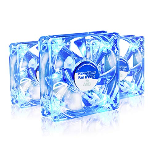 AABCOOLING Super Silent Fan 8 Blue LED - Un Silencioso y Muy Efectivo Ventilador 80mm con LED Azul, Ventilador 12V, Fan PC, Fan 80mm, 33m3/h, 1600 RPM - 3 Piezas 13,9 dB(A)