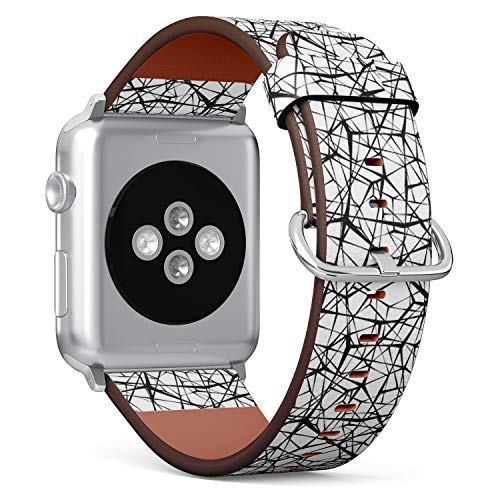 CJBROES Replacement Band, Compatible with 42mm / 44mm Apple Watch, Leather Wristand Bracelet Strap for Men and Women Ladies Girls - spider web connected black