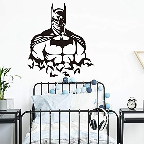 Tianpengyuanshuai Bat Hero Dark Knight, Pegatinas de Pared para Ordenador, habitación de niños, Dormitorio, Pegatinas de Pared de Dibujos Animados, decoración de Vinilo -60x54cm