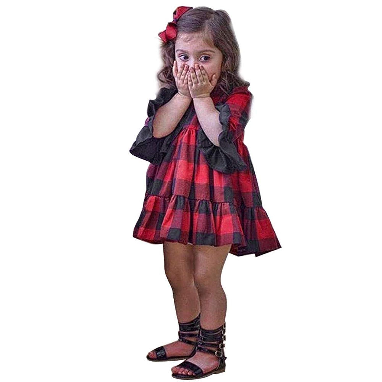 ドレス 子供 ? Racazing 幼児服, 女の子 赤ちゃん服 ベルスリーブ スカート 子供服, 75~120CM 格子 着ぐるみ 演出服 入学式 ピアノ 発表会 パーディー フォーマル 結婚式, 12ヶ月~5歳