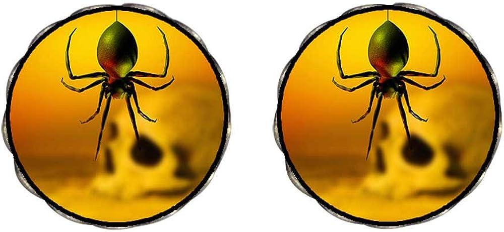 GiftJewelryShop Bronze Retro Style black widow spider skull Photo Clip On Earrings Flower Earrings #12
