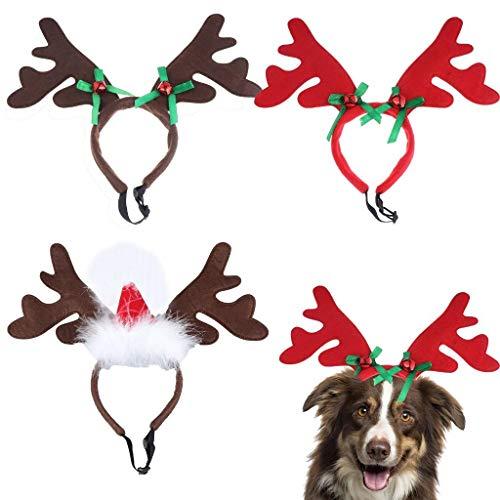BraveWind Rentier-Geweih-Stirnband für Hunde, Elchgeweih mit Weihnachtsmannmütze, Halloween-Kostüm, Kopfbedeckung für Hunde und Katzen, Rotwild