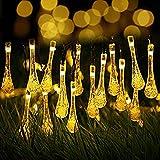 Berocia ストリングライト ソーラー led 屋外 30 led 8モード 水滴暖かい白 イルミネーションライト太陽充電 IP65防水 クリスマスライトソーラーパネル飾りライト パーティー新年学園祭屋外室内庭対応