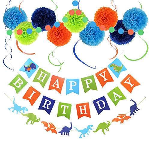LITAUS Birthday Decorations, Dinosaur Happy Birthday Decorations, Happy Birthday Banner, Hanging Swirls, Paper Garlands for 1 Birthday Decorations, Birthday Party, Girls Birthday