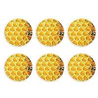 ミツバチと蜂蜜 honey 冷蔵庫マグネット 磁気飾り物 磁気黒板用 ビール 栓抜き ボトルオープナー 6点セット丸型 多機能