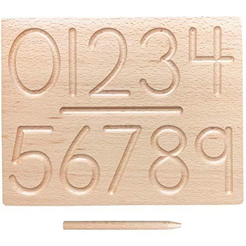 Edinber Tabla de madera con números para aprender a escribir y aprender a escribir