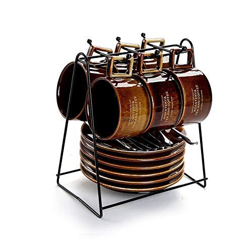 Haushalt Keramik Kaffeetasse mit Becherhalter Set 6 Tassen, Espressotassen Nachmittag europäischen und amerikanischen Stil kleinen Kaffeetasse (Color : Metallic)