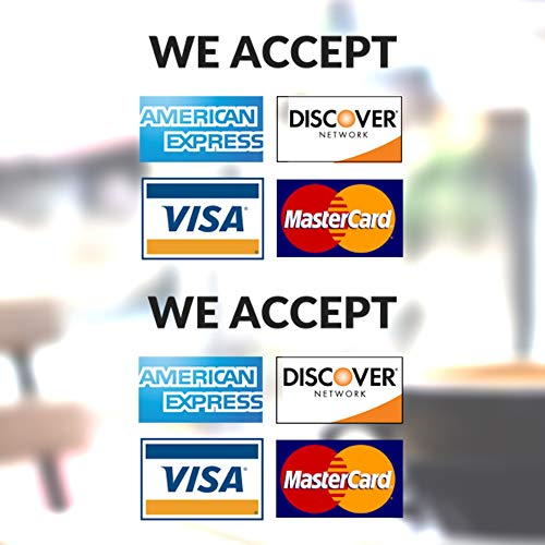 """Clear Credit Card Vinyl Sticker Decal - 2 Pack - We Accept - Visa, MasterCard, Amex and Discover - 3.5"""" x 3.5"""" Vinyl Decal for Window - Shop, Cafe, Office, Restaurant"""