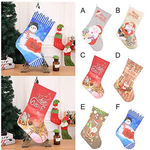 Fenverk Nikolausstrumpf Weihnachtsstrumpf Deko Kamin Christmas Stocking Nikolausstiefel zum befüllen und aufhängen groß Ideale Weihnachtsdekoration-Einhorn-52X29cm