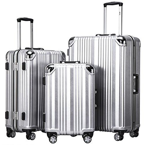 COOLIFE-Hartschalen Fashion Koffer • Alu Rahmen • Polykarbonat Material • Reisegepäck Reisetrolley Trolley • mit TSA-Schloss und 4-Doppelrollen, die...