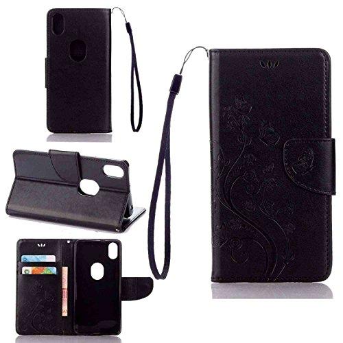 pinlu Schutzhülle Für BQ Aquaris X5 Plus (5 Zoll) Handyhülle Hohe Qualität PU Ledertasche Brieftasche Mit Stand Function Innenschlitzen Design Schmetterling Schwarz
