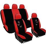 WOLTU AS7243 Set Coprisedili Auto 5 Posti Seat Cover Protezioni Universali per Macchina con Motivo Farfalle Tessuto Poliestere Rosso