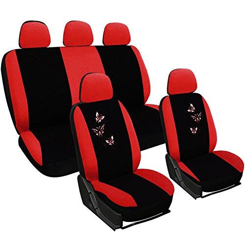 WOLTU AS7243 Sitzbezüge Auto Schonbezüge universal Größe, Butterfly Stickerei, schwarz-rot