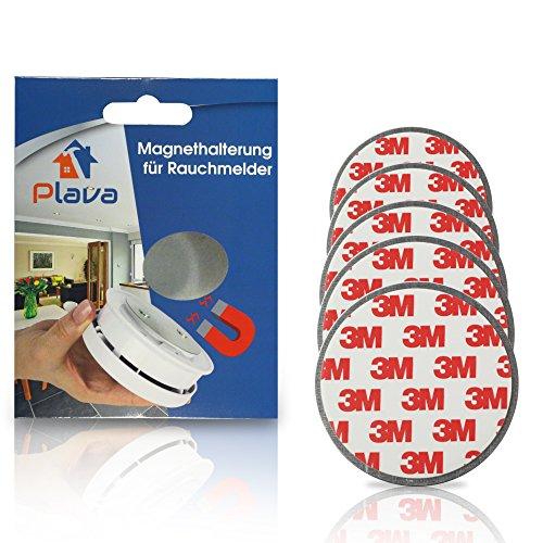 PLAVA 5X Rauchmelder Magnethalter - 3M Magnetbefestigung für Rauchmelder 5 Stück - Schnelle und...
