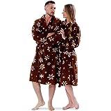 STJDM Bata de Noche,Adult Soft Warm Winter Bathrobe Printed Snow Brown Plus Size Couple Dressing Gown Sleepwear Robe For Men Women M Men