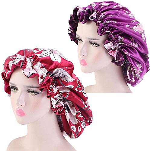 2 Pieces Satin Bonnets Sleep Caps for Women Extra Large Double Layer Reversible Silk Bonnet for Curly Braid Hair(Purple,Red)