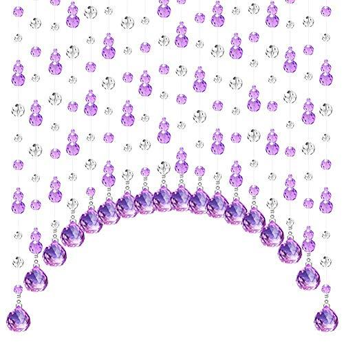 ZXL paarse boogvorm van kristal, decoratie voor woonkamer, slaapkamer, hangstoel (afmetingen: 55 x 210 x 120 cm)
