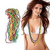 Relaxdays Lot de 12 colliers en perles fluo -6 couleurs - Chaîne hippie -...
