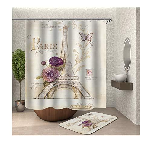 Anwaz Duschvorhang & Badteppich Set Anti-Schimmel aus Polyester Eiffelturm Muster Design Bad Vorhang Badvorleger Bunt mit 12 Duschvorhangringen für Badewanne - 180x200CM/ 40x60CM