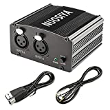 NUOSIYA - Fuente de alimentación Phantom de 1 canal de 48 V con cable USB de 1,5 m y interfaz tipo C, adaptador XLR para cualquier condensador de micrófono de grabación de música, 2 canales