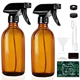 Tecohouse Glass Spray Bottles for Cleaning Solutions and Essential Oils, 4 oz Small Empty Refillable Sprayer Container with Labels, Funnel, Lids, Pipettes - Pocket Size 2 Pack - Amber