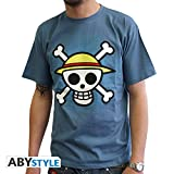 ABYstyle - ONE PIECE - Camiseta - Craneo con mapa - Hombre - Blu (XL)