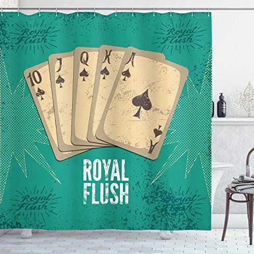 N\A Cortina de Ducha Vintage, impresión Retro del Cartel del Casino Royal Flush con Tarjetas de Juego Lucky Joker Hobby Image, Conjunto de decoración de baño de Tela de Tela con Ganchos, Verde Beige