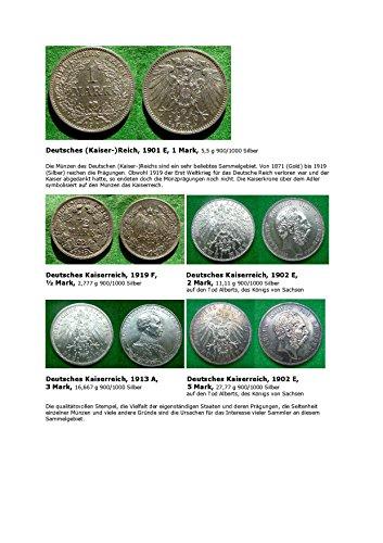 Kalenderblatt zum Jahr 1901: ausgewählte Silbermünzen des Deutschen Kaiserreiches (1 Mark von 1901 des Kaiserreiches sowie je ein ½-, 2-, 3- und 5-Markstück anderer Jahrgänge in Silber)