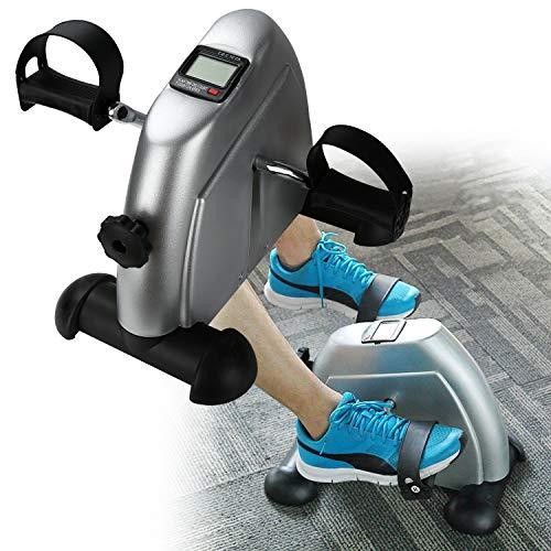 Karpal Mini Bike Heimtrainer, Mini-Heimtrainer Arm und Bein mit LCD-Display,Fitnessbike für Das Büro/Home, ideal für Senioren,leise und Widerstand ist einstellbar max Belastung 120 KG, Silber
