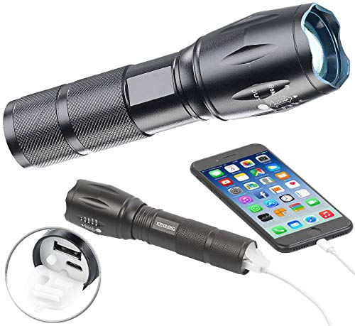 KryoLights Akku Taschenlampe: 2in1-LED-Taschenlampe und Powerbank, 1.800 mAh, 260 Lumen, 10 Watt (Taschenlampe USB Ladefunktion)