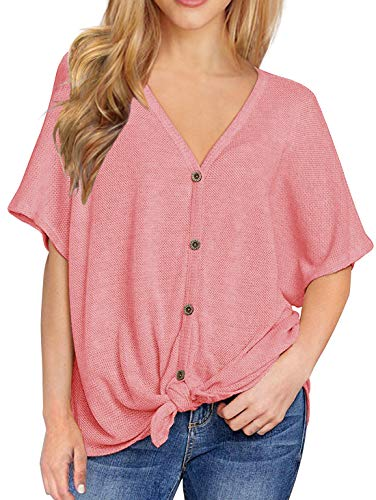 IWOLLENCE Womens Loose Henley Blouse Bat Wing Short Sleeve Button Down T Shirts Tie Front Knot Tops Pink S