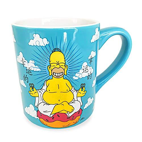 Silver Buffalo The Simpsons Buddha Homer Rub My Tummy 14oz Ceramic Mug, 14 Oz, Blue