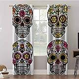 Aishare Store - Cortinas opacas, 52 x 63 cm de ancho con aislamiento térmico para cortinas con ojales, Día de los Muertos, imagen de cráneo, cortinas para oscurecimiento de habitación (2 paneles)